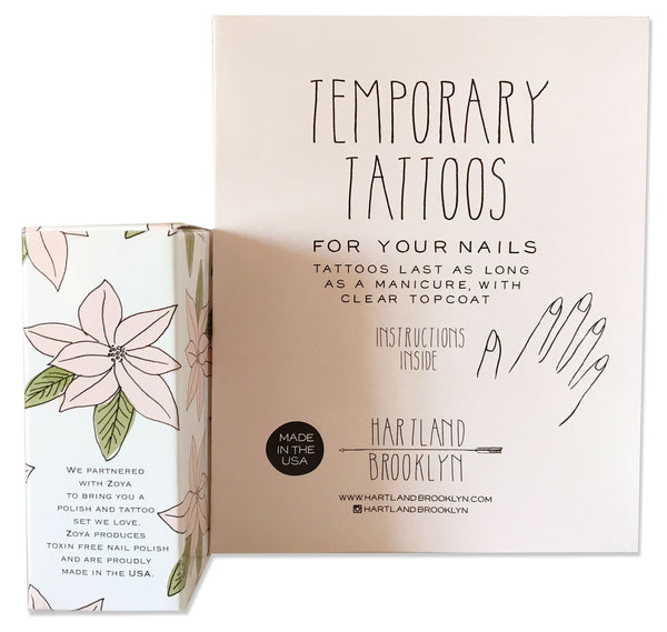 Back of the holiday packaging of the temporary nail tattoos and polish set by Hartland Brooklyn.
