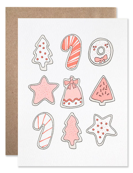 Christmas cutout cookies frosted with neon red frosting. Illustration by Hartland Brooklyn.