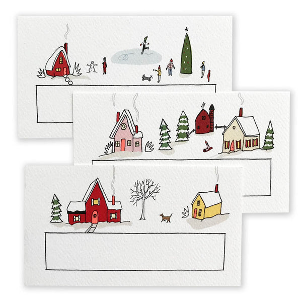 48 Holiday Village Mini Cards / Place Cards / Gift Tags