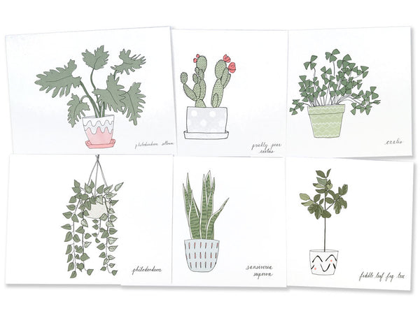 6 of the 12 postcards from the houseplant postcard set illustrated by Hartland Brooklyn.