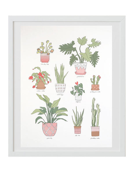 Houseplants art print in white frame. Illustrated by Hartland Brooklyn.