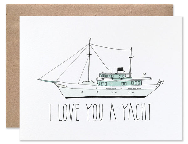 A pale green yacht with I Love You a Yacht written underneath. Illustrated by Hartland Brooklyn.