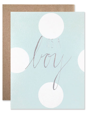 It's A Boy baby blue and polka dot card with calligraphy by Hartland Brooklyn.