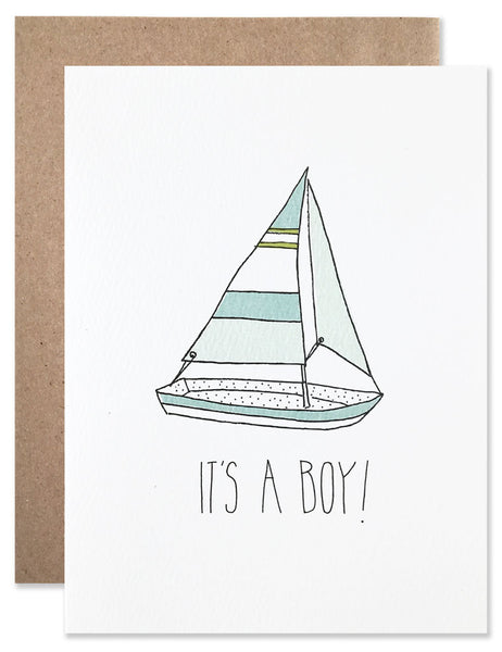 Baby boy blue sailboat illustrated by Hartland Brooklyn.