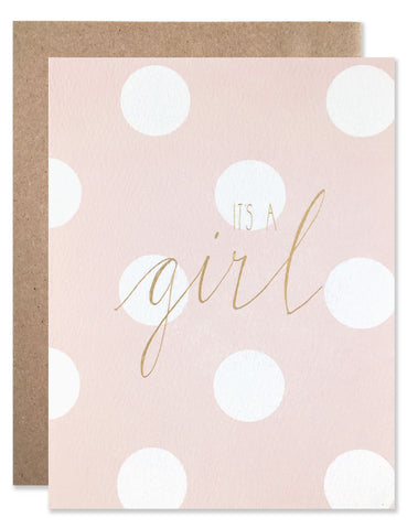 Pink and white dot with gold foil script by Hartland Brooklyn