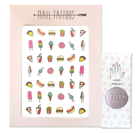 Temporary nail tattoos and polish set with illustrations by Hartland Brooklyn of junk foods and drinks. Pale pink polish by Zoya.