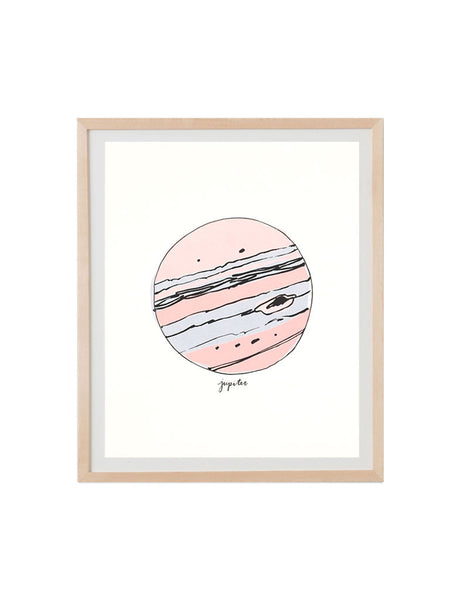 Neon Jupiter art print in natural wood frame. Illustrated by Hartland Brooklyn