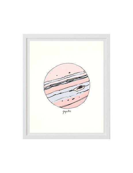Neon Jupiter art print in white frame. Illustrated by Hartland Brooklyn