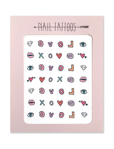 Temporary nail tattoos illustrated by Hartland Brooklyn that include a diamond, multiple hearts, an eye, lips, and the letters l,o,v,e, and x.