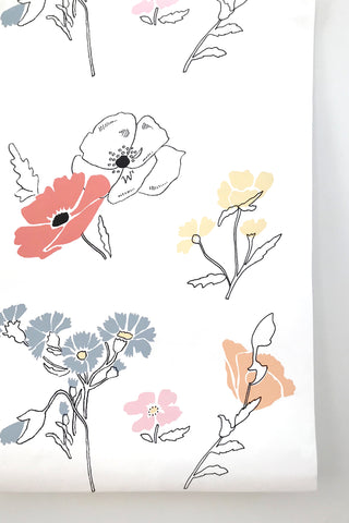Large Painted Mural Floral Wallpaper
