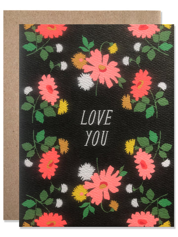 Love you Dark Floral with Neon Daisies