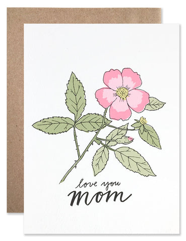 Love you mom card handwriting and pink apple blossom illustration by Hartland Brooklyn.