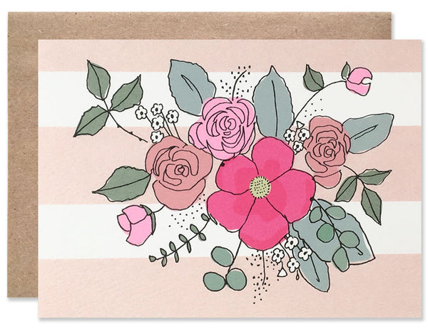 4 bar pink and white striped card with small pink floral bouquet illustrated by Hartland Brooklyn