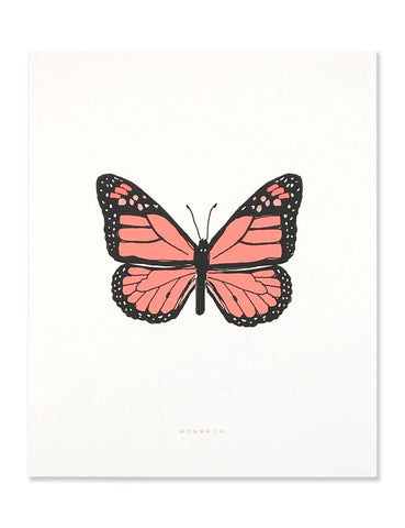 Neon monarch art print illustrated by Hartland Brooklyn.