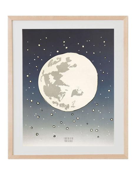 Large full moon with little white stars around it. Navy blue to light gray gradient with the text I love you to the moon and back. Illustrated by Hartland Brooklyn. Framed in a natural wood frame.