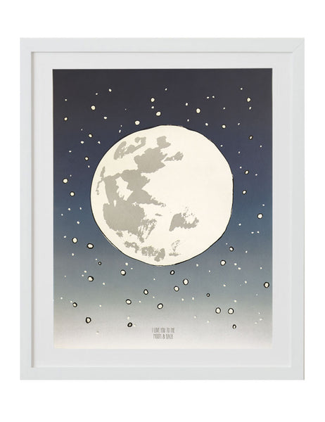 Large full moon with little white stars around it. Navy blue to light gray gradient with the text I love you to the moon and back. Illustrated by Hartland Brooklyn. Framed in a white frame.