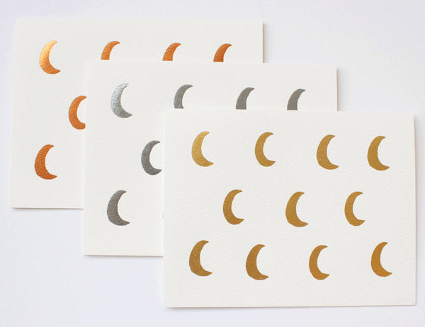 crescent moon cards in foil trio copper, silver and gold. illustrated by Hartland Brooklyn.