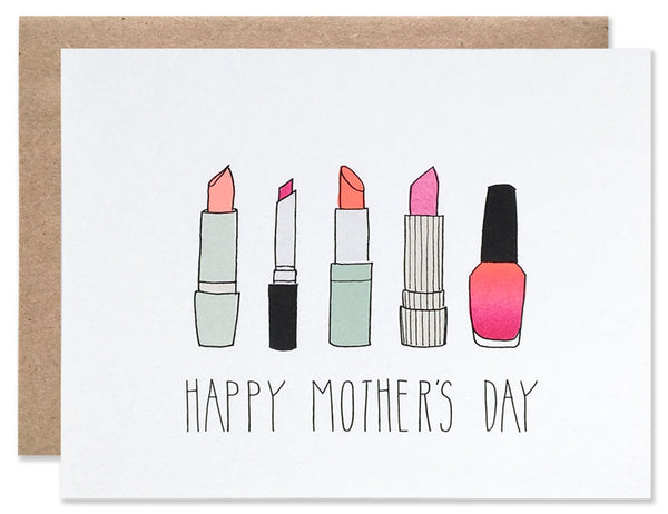 Four different colors of lipstick and one bright pink nail polish with Happy Mothers Day written below. Illustration by Hartland Brooklyn