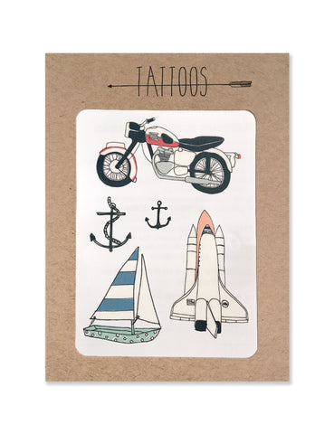 Moto tattoos illustrated by Hartland Brooklyn printed with vegetable inks and made in the USA.