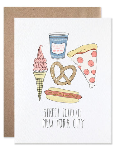 Street foods found in NYC including large hot pretzel, hot dog, pizza, greek coffee cup and soft serve ice cream dipped. Illustrations by Hartland Brooklyn.