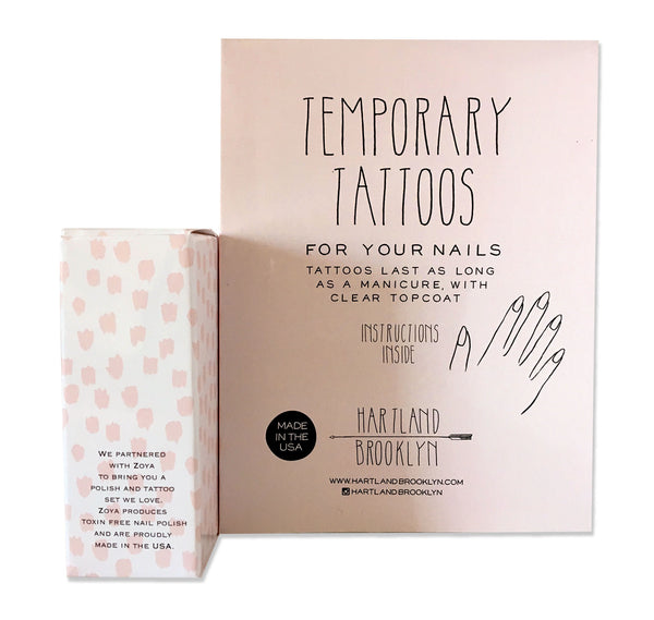 Back of the packaging of the temporary nail tattoos and polish set by Hartland Brooklyn.