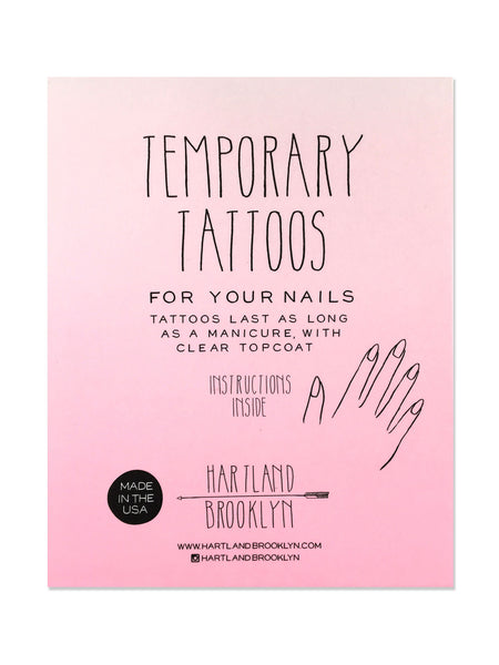 Back of the packaging of the temporary nail tattoos by Hartland Brooklyn.