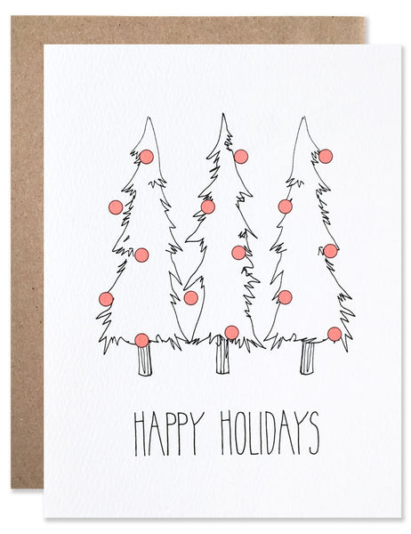 Three pine trees with red holiday ornaments illustrated by Hartland Brooklyn
