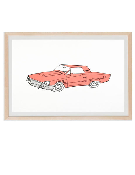 Neon Red old muscle car illustrated by Hartland Brooklyn in a natural frame.