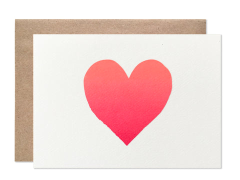 Everyday / 4 bar / Neon Ombre Heart Blank Folding Card - wholesale