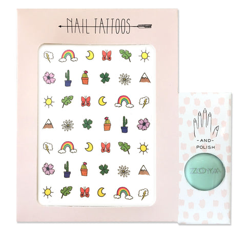 Temporary nail tattoos and polish set with illustrations by Hartland Brooklyn of outdoor themed icons. Bright green polish by Zoya.