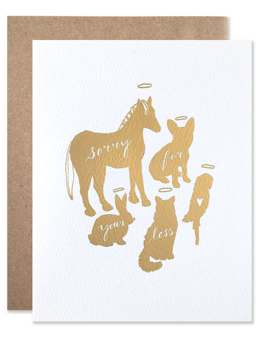 Gold foil animal shadows of a horse, rabbit, cat, dog and parrot illustrated by Hartland Brooklyn