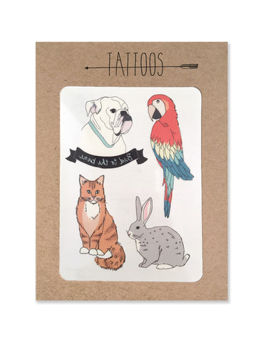 Pet tattoos illustrated by Hartland Brooklyn printed with vegetable inks and made in the USA.