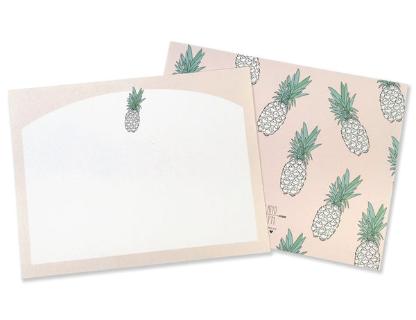 Pineapple Stationery Set detail of individual card and the pineapple pattern on the back. Illustrated by Hartland Brooklyn.