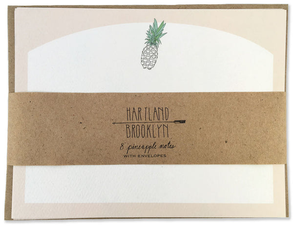 Pineapple Stationery set pack wrapped in brown paper. Illustrated by Hartland Brooklyn.