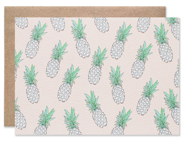 pineapple pattern with pink background folding card illustrated by Hartland Brooklyn