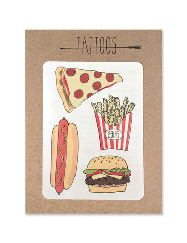 Pizza and fast food tattoos illustrated by Hartland Brooklyn printed with vegetable inks and made in the