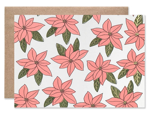 Poinsettia flower patterned color with gold foil accents illustrated by Hartland Brooklyn