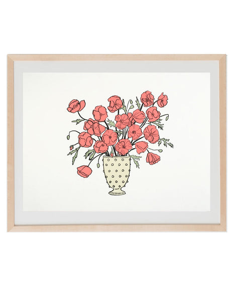 Neon red poppies art print in natural wood frame. Illustrated by Hartland Brooklyn.