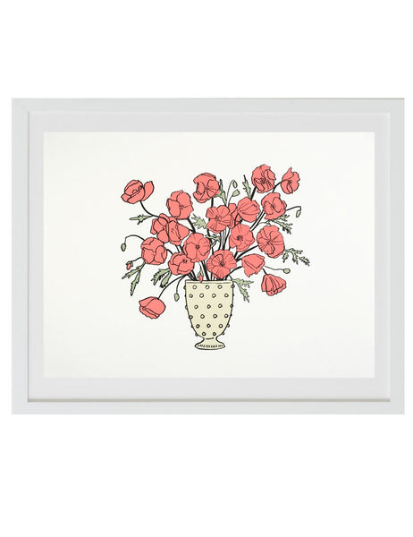 Neon red poppies art print in white frame. Illustrated by Hartland Brooklyn.