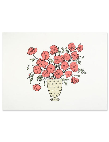Neon red poppies art print illustrated by Hartland Brooklyn.
