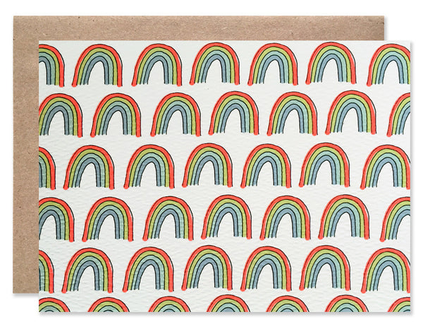 Pattern of neon small rainbows illustrated by Hartland Brooklyn.