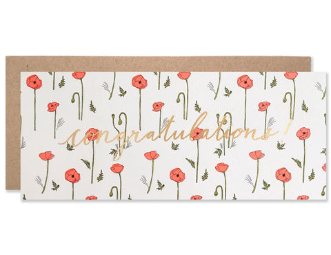 Gold foil congratulations centered script with neon red poppies pattern. Illustration and handwriting by Hartland Brooklyn.