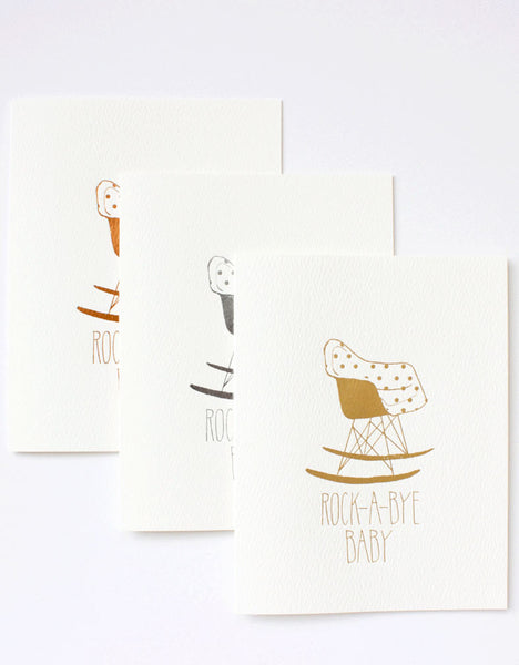 Rocking Eames chair cards in the foil trio of copper, silver and gold. Illustrated by Hartland Brooklyn.
