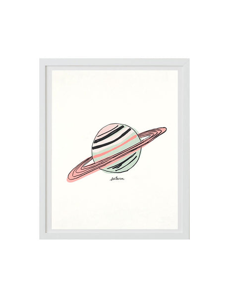 Neon Saturn art print in white frame. Illustrated by Hartland Brooklyn.