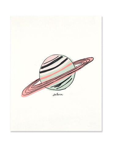 Neon Saturn art print illustrated by Hartland Brooklyn.