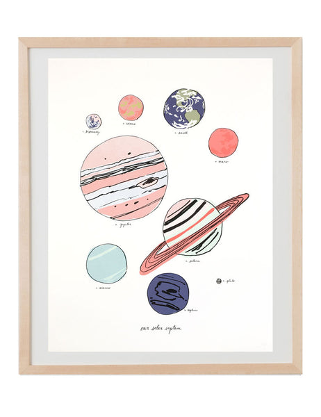 Solar System art print illustrated by Hartland Brooklyn.