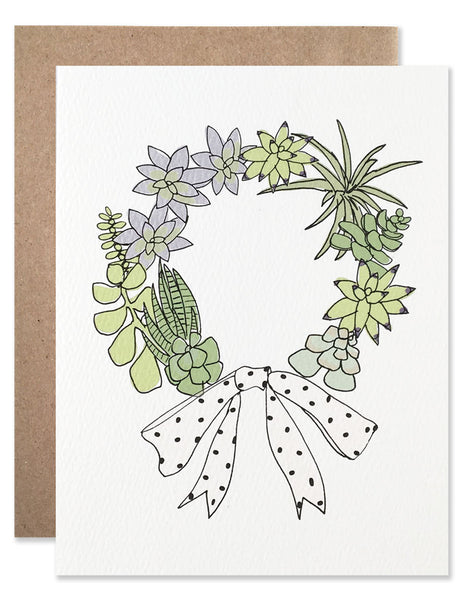 Wreath of succulents hand illustrated by Hartland Brooklyn.