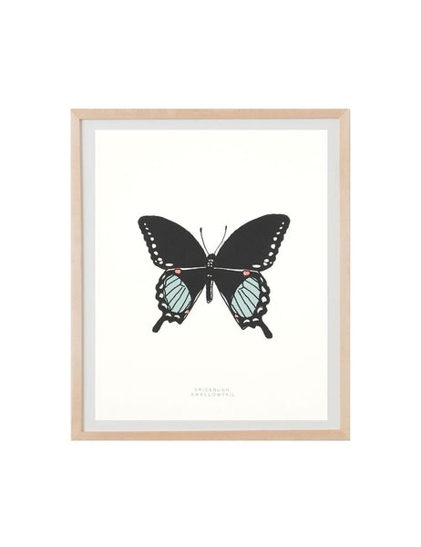 Neon swallowtail butterfly art print in natural wood frame. Illustrated by Hartland Brooklyn.