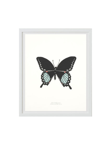 Neon swallowtail butterfly art print in white frame. Illustrated by Hartland Brooklyn.