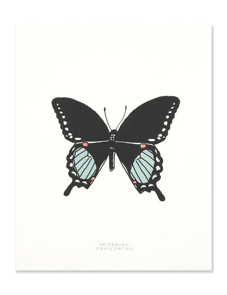 Neon swallowtail butterfly art print illustrated by Hartland Brooklyn.